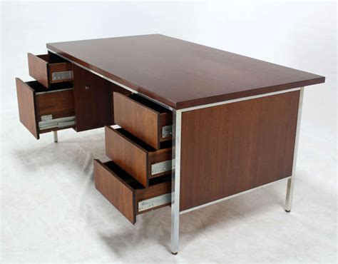 Large Modern Desk Walnut And Aluminum Mid Century Modern Large Executive Desk For Sale At 1stdibs