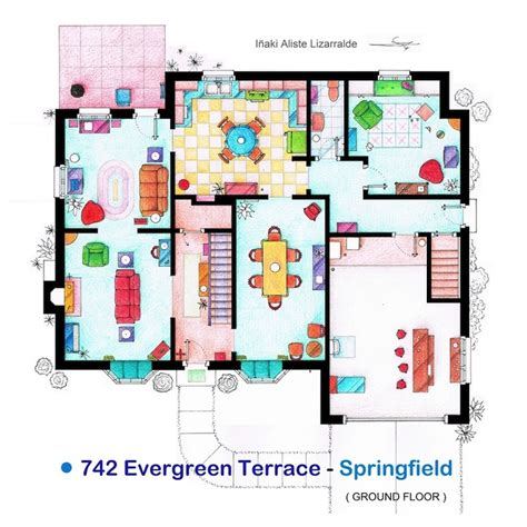 the simpsons floor plan detailed floor plan drawings of popular tv and homes my modern met