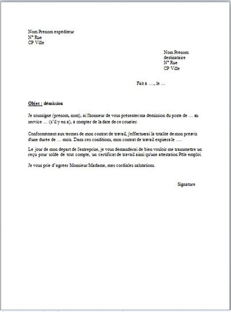 Exemple De Lettre Administrative Word Exemple D Une Lettre De Demission Simple
