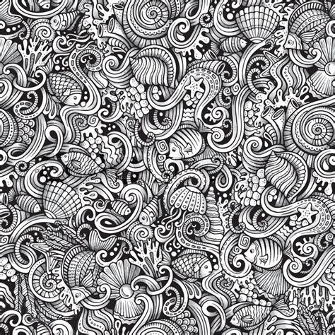 seamless pattern line art cartoon hand drawn under water life doodles seamless
