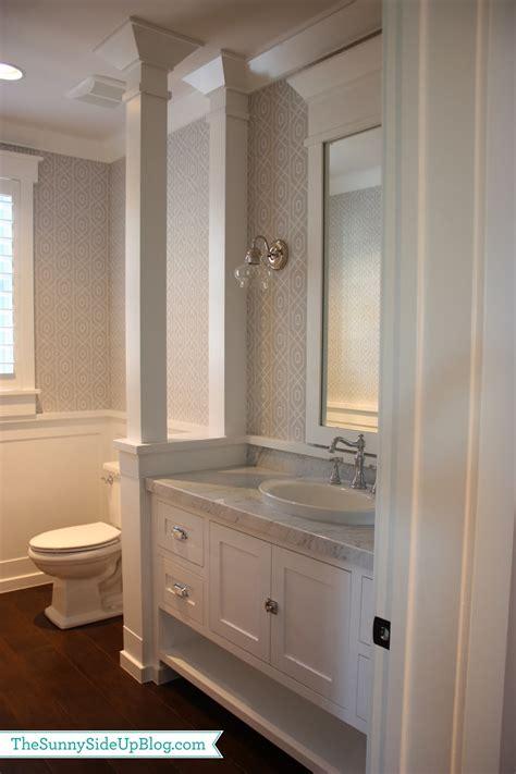 bathroom with half wall powder bathroom half walls wainscoting and division