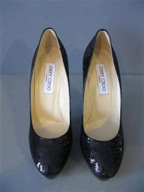 authentic new jimmy choo cosmic 37 5 black sequin patent