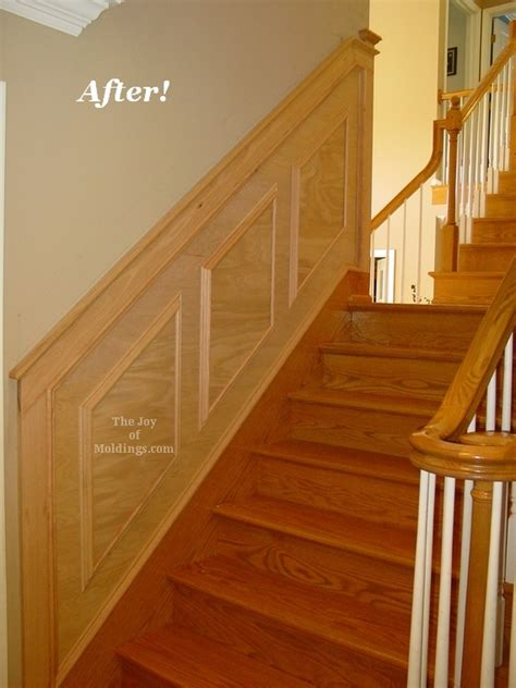 Wood Grain Wainscoting Before After Oak Wainscoting On Stairs The Of