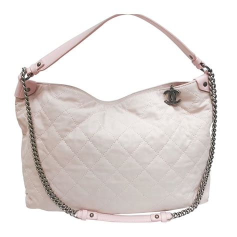 Chanel Petal Pink Quilted Leather Shoulder Bag by Chanel Light Pink Quilted Calfskin Leather Coco Daily Hobo