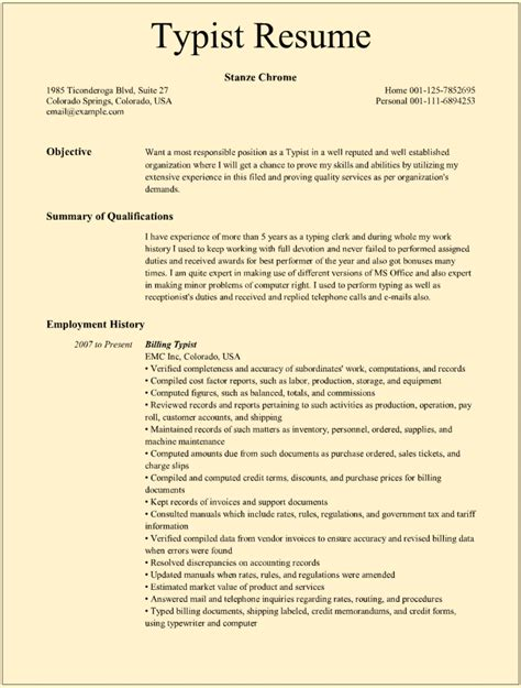cover letter clerk typist typist resume sles for microsoft word doc