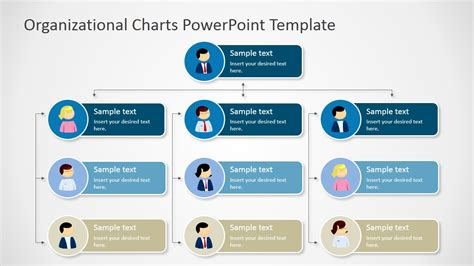 Four Levels Tree Organizational Chart For Powerpoint Slidemodel Organization Chart Powerpoint Template Free