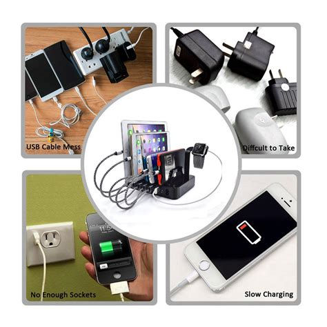 charger organizer 60w 6 port usb universal charging station cell phone tablet charger organizer ebay