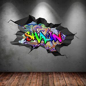 multi colour personalised  graffiti  cracked wall