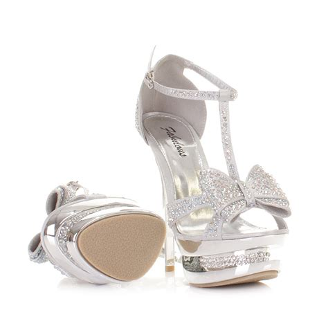 womens high heel platform stiletto diamante silver bow