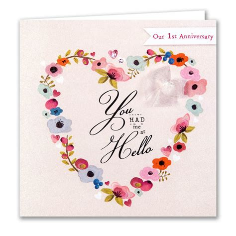 1st Year Wedding Anniversary Card by You Had Me At Hello Our Anniversary Card Karenza