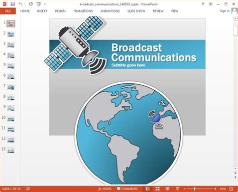Animated Telecom Powerpoint Templates With Worldmap Satellite Ppt Template Free