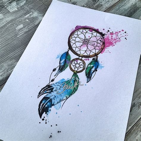tattoo dreamcatcher watercolor watercolor dreamcatcher with feather tattoo design
