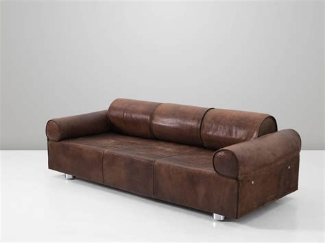 Buffalo Leather Sofa by Marzio Cecchi Brown Buffalo Leather Sofa For Sale At