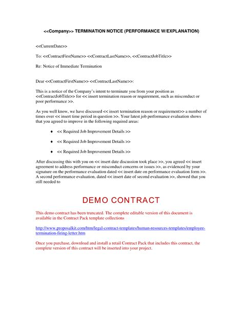 Agreement Termination Letter Format employment contract termination letter free printable