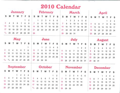 printable calendar review free printable calendar 2010 calendar download pdf