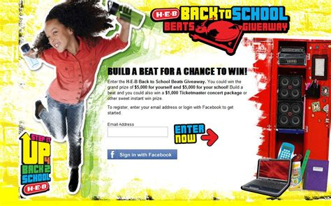 Sweepstakes For Texas Residents Only - h e b back to school beats giveaway sweepstakes texas only