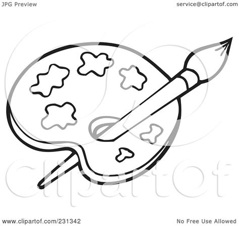 Royalty Free Rf Clipart Illustration Of A Coloring Page Outline Of A Paint Palette By Visekart Coloring And Painting