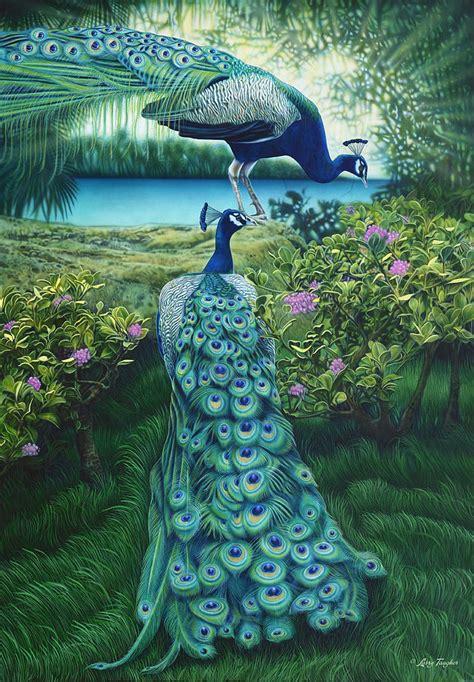 peacock garden peacock garden painting by larry taugher