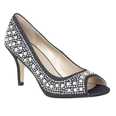 navy serenity diamante peep toe shoes lotus shoes from