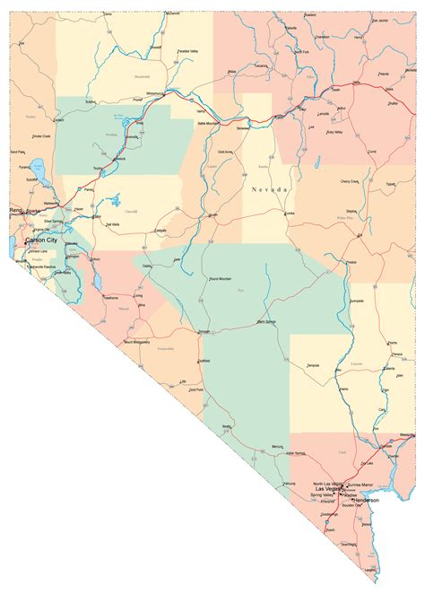 map of nevada and california with cities large administrative map of nevada state with roads