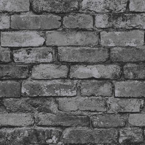 wallpaper grey wall rustic brick effect wallpaper 10m charcoal black silver