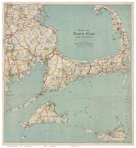 cape cod maps map of cape cod 1917 walker reprint