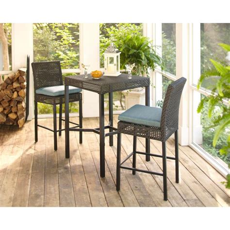 Hampton Bay Fenton 3 Piece Wicker Outdoor Patio High Bar/Bistro Set with Peacock Java Cushion