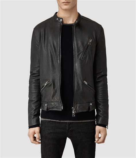 Jaket Kulit Bershka Allsaints Tide Leather Jacket In Gray For Lyst
