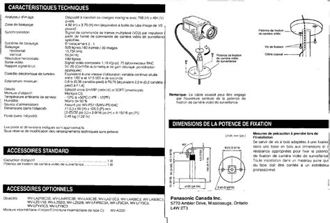 Stopkontak Non Cp Panasonic Wejp11322 7 caracteristiques techniques accessoires standard accessoires optionnels panasonic wv cp110