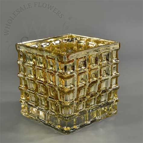 Wholesale Gold Vases by Mercury Glass Mosaic Square Vase In Gold Finish