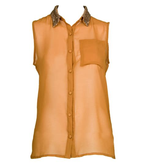 143074 Squin Top Mustard womens new yellow mustard sleeveless shirt with gold sequin collar
