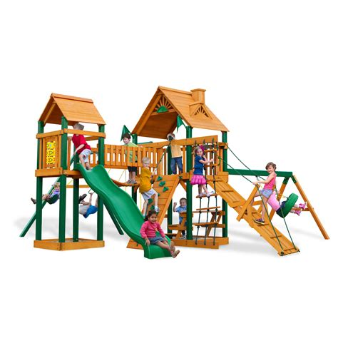 pioneer peak swing set gorilla playsets blue ridge pioneer peak wood swing set