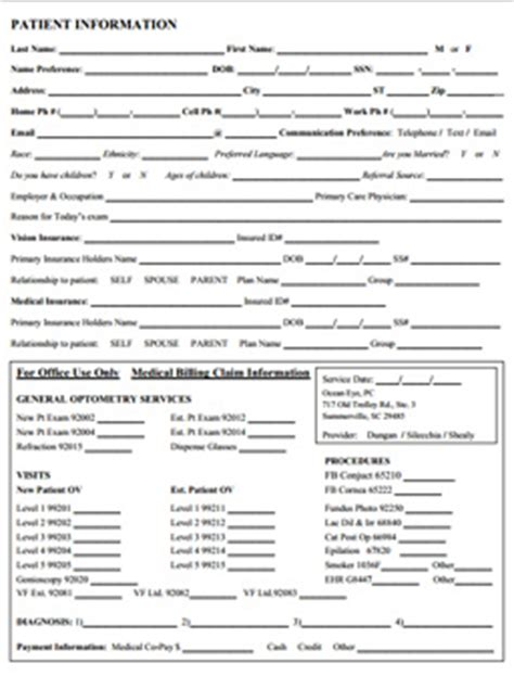Patient Intake Form Eye Doctor Summerville Summerville Eye Care Optometry Form Template
