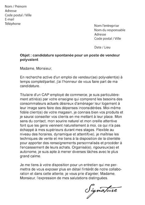 Exemple Lettre De Recommandation Vendeur Lettre De Motivation Gifi Vendeur Polyvalent Mod 232 Le De Lettre