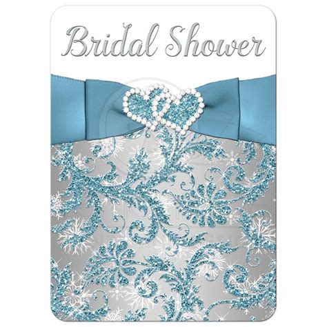 blue and silver bridal shower invitations bridal shower invitation winter blue