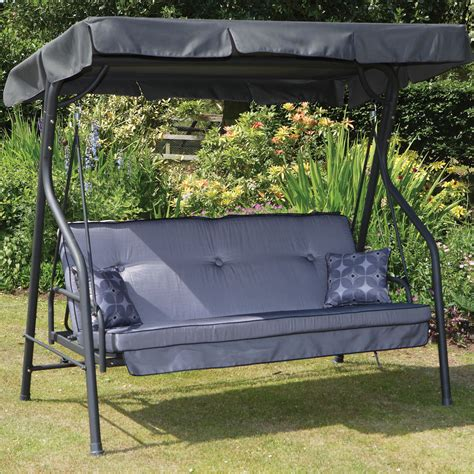kroger porch swing black metal patio swing with grey fabric canopy and grey
