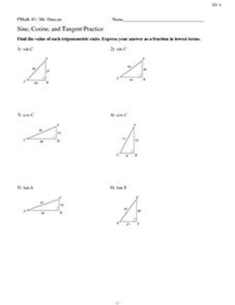 Of Sines And Cosines Worksheet With Answers by Sine Cosine And Tangent Practice 10th 12th Grade