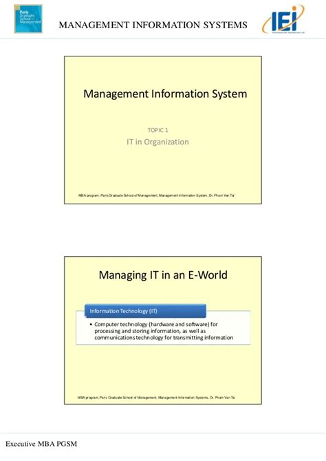 Mba Management Information Systems Notes by Topic 1 It In Organization