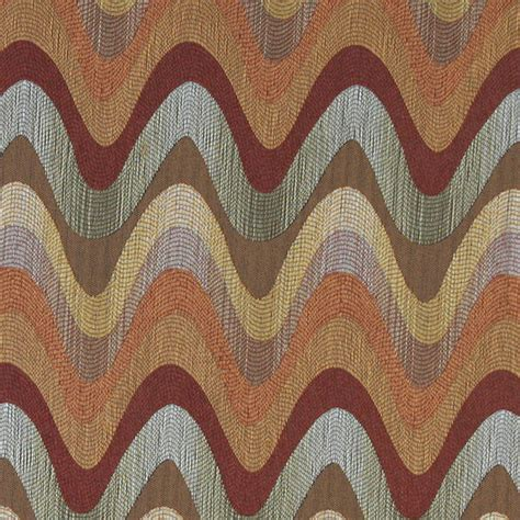 Blue And Orange Upholstery Fabric Orange Blue Green And Beige Wavy Contemporary