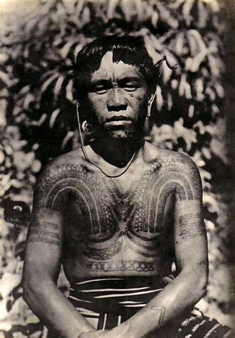 philippines tattooed kalinga man vintage photographic