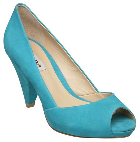 Dunes Perfume Peep Toe Heel by Dune Carlie D Low Cone Heeled Peep Toe Court Shoes In Blue