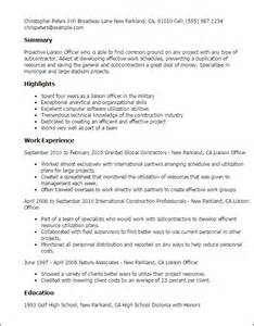 officer resume template professional liaison officer templates to showcase your