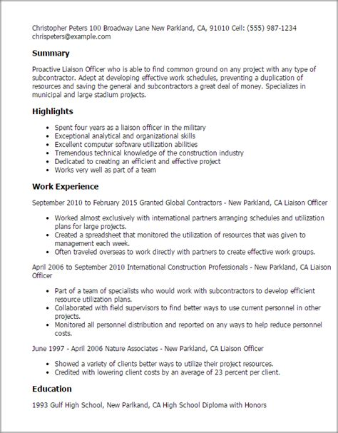 Liaison Resume Professional Liaison Officer Templates To Showcase Your Talent Myperfectresume