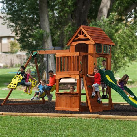 walmart backyard playsets adventure play sets atlantis cedar wooden swing set
