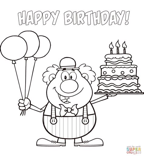 sports happy birthday coloring pages coloriages clown coloriage duun clown du cirque