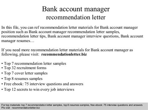 Letter Bank Manager Regarding Loan Bank Account Manager Recommendation Letter