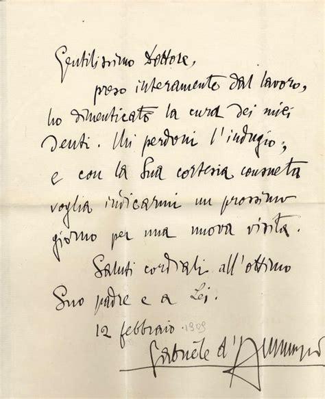 lettere d dei d annunzio gabriele lettera autografa firmata inviata a