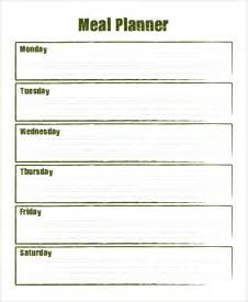 Blank Meal Plan Template by Sle Meal Planning 7 Documents In Word Pdf
