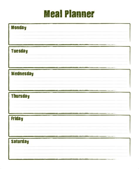 blank meal plan printable sle meal planning 7 documents in word pdf