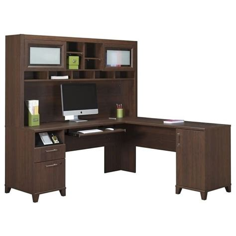 bush achieve l shape home office desk with hutch in sweet